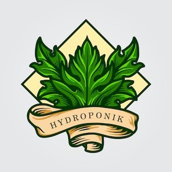 Гидропоник leaf logo с лентой