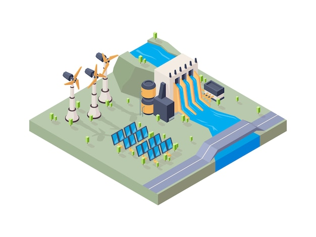 Hydropower factory. solar plant water eco industry geothermal energy vector isometric concept. illustration eco isometric solar energy