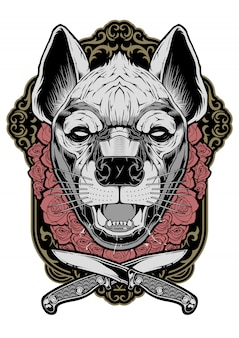 Hyena face illustration