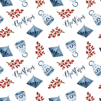 Hygge christmas seamless pattern on white background