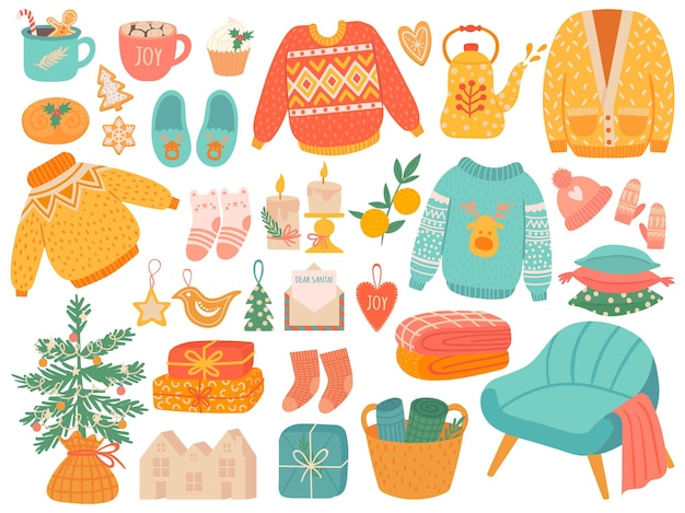 Hygge christmas. winter knit clothes and holiday decor fir-tree, gifts. candles, socks and mittens xmas home symbols, cartoon vector set. christmas hygge, doodle cozy things illustration