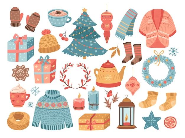 ヒュッゲのクリスマス。冬の季節、落書きクリスマスツリーのお菓子ココアキャンドル。快適な家庭のライフスタイルのシンボル、休日のベクトル図をスケッチします。冬のクリスマスのお祝いの要素、木とココア