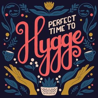 Концепция hygge. красочные ручные надписи и иллюстрации