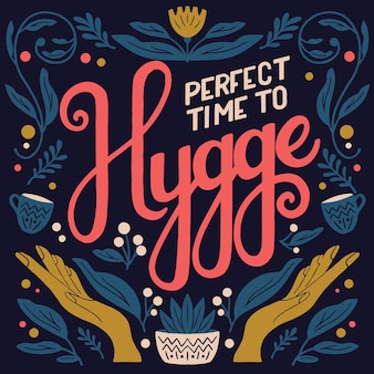 Hygge concept. colorful hand lettering and illustration