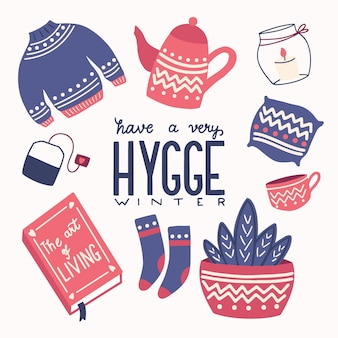 Hygge concept with colorful hand lettering and illustration