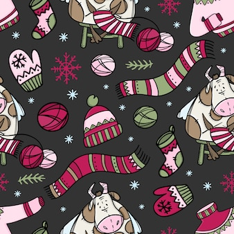 Hygge cow knits sweater and other warm clothes. merry christmas hand drawn cartoon seamless pattern