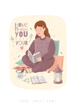 Уютная иллюстрация хюгге. мотивационная цитата. девушка в пижаме читает книгу.