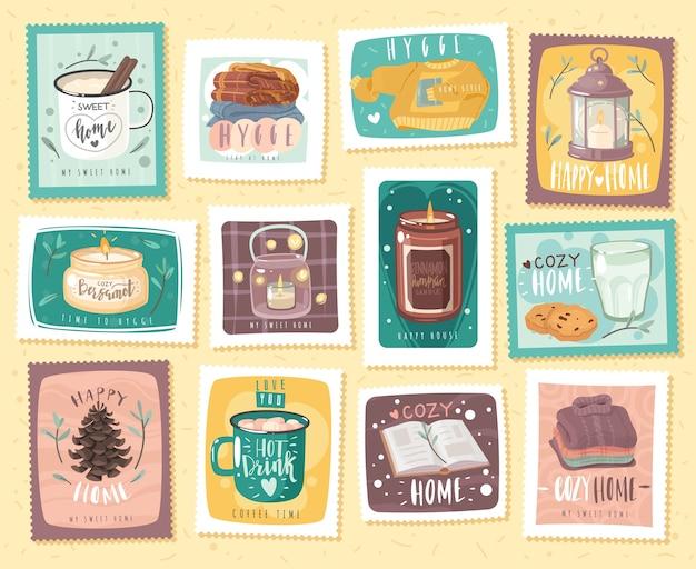 Уютные марки hygge, оформленные на тему домашнего уюта.