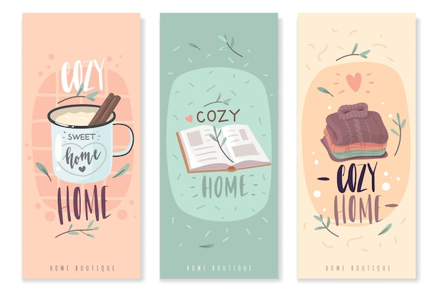 Hygge cozy vertical banners. a set of three vertical banners on the theme of home comfort.