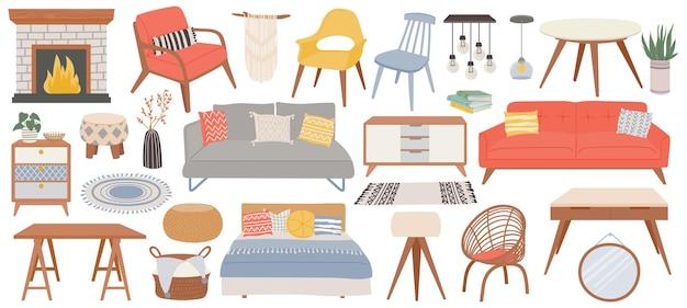 家のためのヒュッゲの家具。居心地の良いインテリア暖炉、テーブル、椅子、ソファ、枕。トレンディなスカンジナビアの寝室の家具ベクトルセット。モダンなランプ、植物、部屋の装飾用バスケット