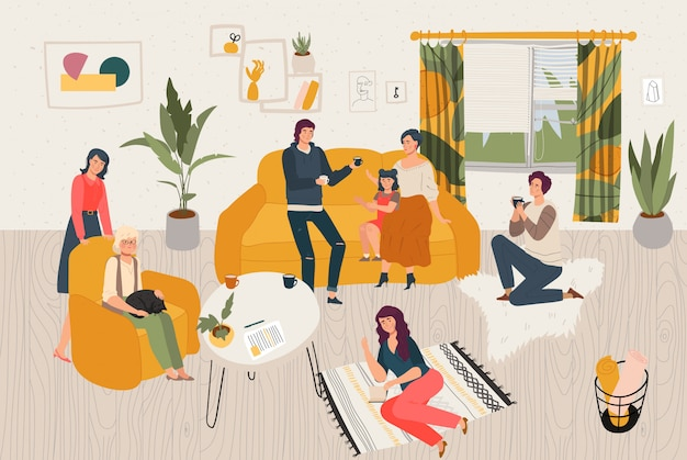 Hygge home big family together, people siiting in scandinavian style room spending time at cosy home   illustration.
