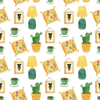 植物、テーブルランプ、コーヒー、枕とヒュッゲの家の装飾のシームレスなパターン。水彩の居心地の良いインテリア