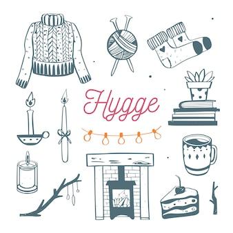 冬のシーズンのための居心地の良い要素を備えたhyggeイラスト。