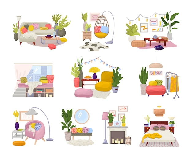 Hygge interiors collection with stylish comfy furniture and scandinavian home decorations  set. cozy living rooms or apartments furnished in trendy hygge style. modern furniture.