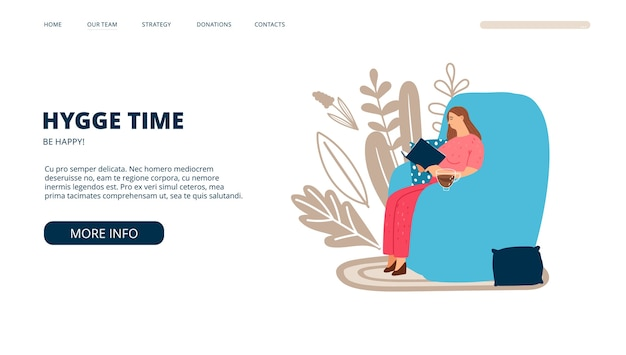 Hygge landing page. scandinavian lifestyle. vector woman reads book on big armchair with cup of tea. hygge web template