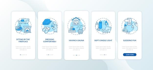 Стиль жизни hygge для уютной зимы - экран страницы мобильного приложения с концепциями