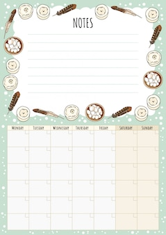 Hygge monthly calendar with boho elements and notes to do list. lagom scandinavian planner.