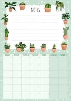 Hygge monthly calendar with succulents plants elements and to do list.