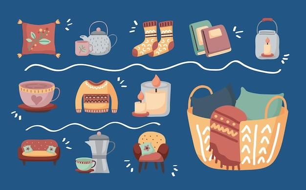 바구니 디자인, 아늑한 가정 및 겨울 테마 일러스트와 함께 hygge 분위기 의자