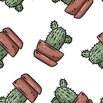 Hygge鉢植えのサボテンはシームレスなボーダーパターンを植えます。居心地の良いラゴムスカンジナビアスタイルのジューシーな落書き上面図の背景タイル