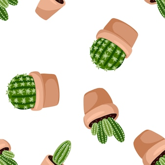 Hygge potted cactus plants seamless pattern. cozy lagom scandinavian style succulent texture background tile