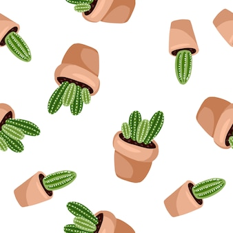 Hygge potted cactus plants seamless pattern. cozy lagom scandinavian style