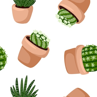 Hygge potted succulents plants seamless pattern.