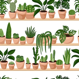 Hygge potted succulents plants on shelf seamless pattern.