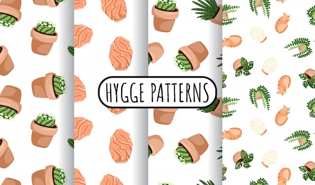 Hygge set of potted succulents plants and himalayan salt lamps seamless patterns. cozy lagom scandinavian style