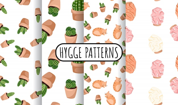 Hygge set of potted succulents plants and himalayan salt lamps seamless patterns