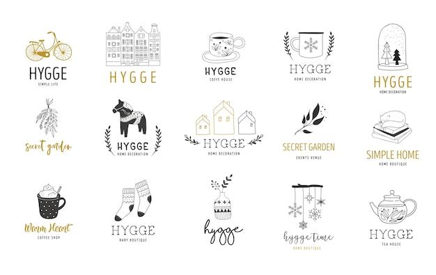 Hygge - простая жизнь на датском языке, коллекция нарисованных вручную элегантных и чистых логотипов, значков и графических элементов.