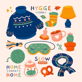 Hygge stickers in flat design