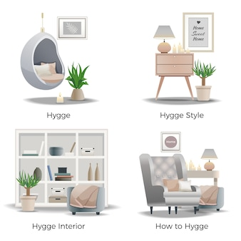 Hygge style interior design banner collection
