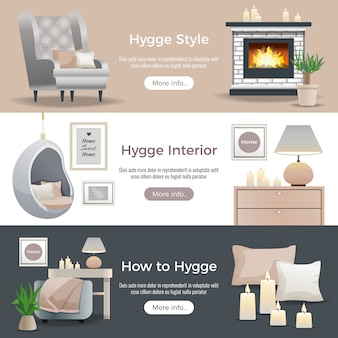 Hyggeスタイルのインテリアデザインのバナーコレクション