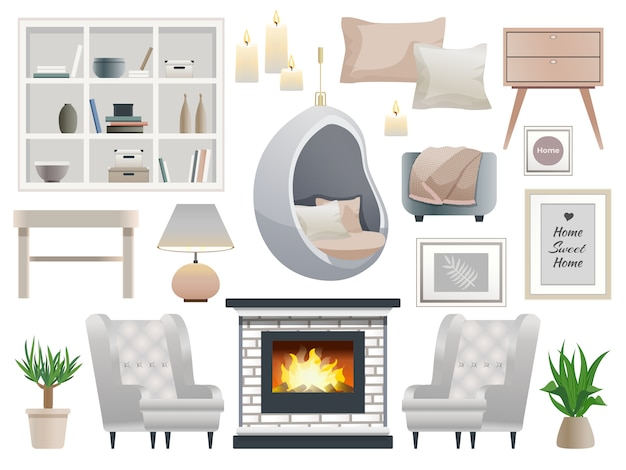 Hygge style interior design element collection