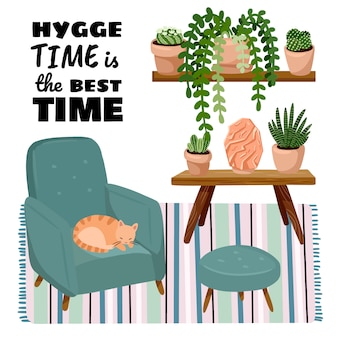 Hygge time is the best time poster. cat on a stool in scandic stylish room interior. home lagom decorations. cozy season. modern comfy apartment furnished in hygge style