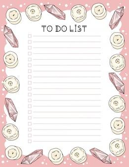 주간 플래너를 흥얼 거리고 촛불과 쿼츠 크리스탈로 목록을 만드십시오.