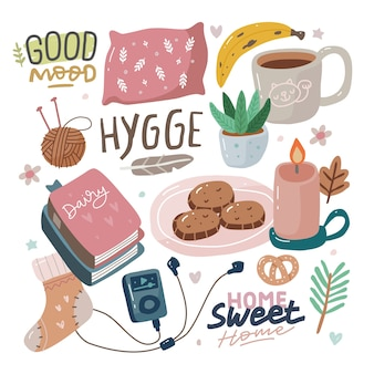 Hygge with lettering hygge elements cute hand drawn scandinavian style