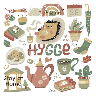 Hygge with lettering. hygge elements cute hand drawn scandinavian style