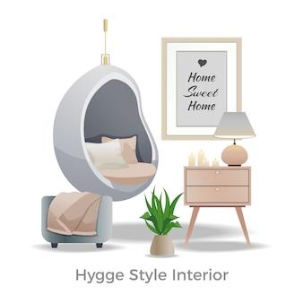Hyggeスタイルのインテリアデザインイラスト