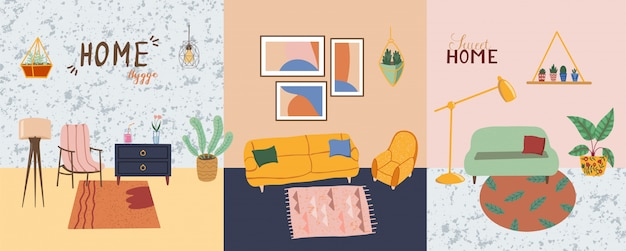 インテリアデザイン要素を設定します。モダンな家具のリビングルーム。ソファ、植木鉢、サボテン、床とテーブルランプ、壁の絵など。スカンジナビアの居心地の良い家hyggeスタイル