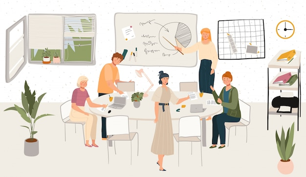 Рабочее место или домашний офис скандинавского офиса hygge внутренние с стильной удобной мебелью и трудовой иллюстрацией людей.