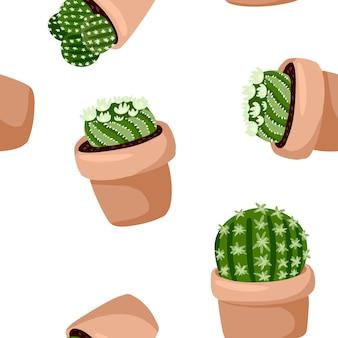 Hygge鉢植えサボテン植物のシームレスなパターン。居心地の良いラガンスカンジナビアスタイルのジューシーなテクスチャ背景タイル
