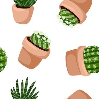 Hygge鉢植え多肉植物植物のシームレスなパターン。