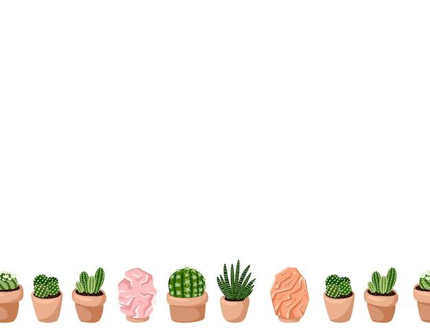 Милый набор hygge горшечных суккулентных растений и гималайских соляных ламп бесшовные модели. формат письма лагом в скандинавском стиле