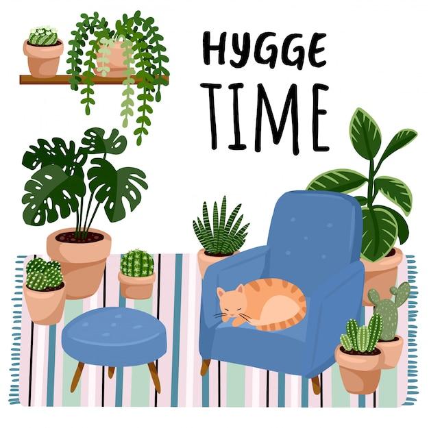 Hygge時間、スカンディックなスタイリッシュな部屋のインテリアのスツールに猫。