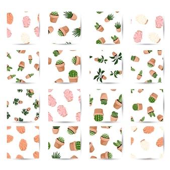 多肉植物の鉢植えとヒマラヤの塩ランプシームレスパターンのhyggeセット。