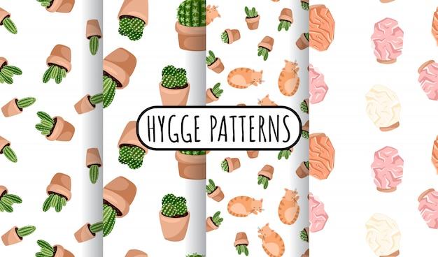多肉植物の鉢植えとヒマラヤの塩ランプシームレスパターンのhyggeセット