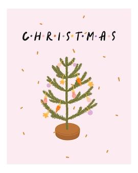 Hyggeスタイルのクリスマスツリーとクリスマスと新年のグリーティングカード。居心地の良い冬のシーズン。北欧
