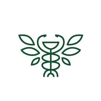 Hygiea bowl caduceus leaf pharmacy medicine medical logo vector icon illustration